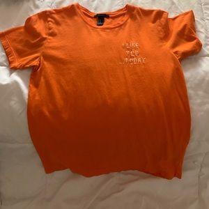 orange graphic tee